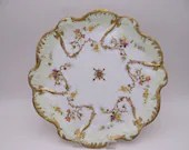 c1890s Factory Decorated Hand Painted Limoges France Klingenberg and Dwenger Large Serving Tray or Plate Charger