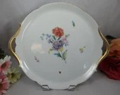 Vintage Hand Painted Jean Pouyat Limoges France Ladybug Flower Round Cake Plate or Serving Tray - Charming
