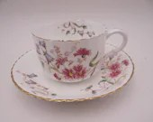 """1886 to 1905 Antique Vintage W.A.A & Co Adderley English Bone China Blue """"Spray No.16"""" Teacup English Teacup and Saucer English Tea Cup"""