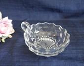 Fostoria American Clear Glass Handled Nappy - Vintage Fostoria Glass Nappy - Candy Dish - Bon Bon Dish - Trinket Dish