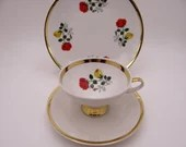 1950s Mid Century Modern Vintage Tirschenreuth Bavaria Red and Yellow Rose Teacup and Saucer Tea Trio Outstanding German Tea Cup