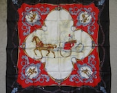 """Vintage Silk Victorian Horse and Carriage Scene Scarf - 100% Silk Scarf - 28"""" Square Scarf - Blue Red Gold Scarf on Black Background"""