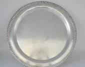 """Vintage Leonard 15"""" Silverplate Round Tray with Etched Design and Rope Edge - Elegant Shabby Chic Serving Tray - Tea Tray - Home Decor"""