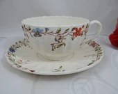 """Vintage Copeland Spode English Bone China Teacup and Saucer """"Wicker Dale"""" Pattern 12 available English Tea Cup"""