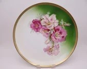 1900s Unger & Schilde Three Crown China Germany Pink and Purple Orchid Large Cabinet Plate or Charger