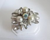 Vintage Faux Pearl and Clear Faceted Rhinestone Brooch Pin with Aurora Borealis Rhinestone Accents on Silver Tone Setting
