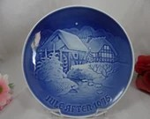 1975 Bing and Grondahl B G Christmas Collector Plate Christmas at the Old Watermill