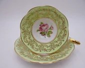 1950s Royal Standard English Bone China Green Pink Rose Teacup and Saucer Set Charming English Tea Cup 2786
