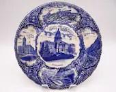 "Antique Vintage English Bone China Flow Blue and White ""Views of Denver' Souvenir Plate"