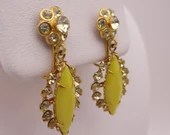 Vintage Yellow Bead and Rhinestone Dangle Gold Clip on Earrings on Gold Tone Setting - Stylish and Unique Clip Earrings