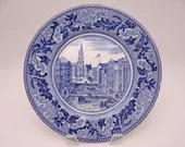 """1950 Vintage Johnson Bros England Historic America Blue and White Luncheon Plate """"Wall Street"""" - 6 Available"""