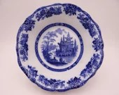 """1891 to 1901 Antique Royal Doulton English Bone China Flow Blue and White """"Madras"""" Round Vegetable or Serving Bowl"""