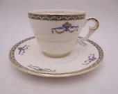 """1940s Vintage Pope-Gosser China Made in USA """"Melrose"""" Demitasse Cappuccino Teacup and Saucer Set Espresso Cup"""