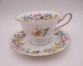 """1950s Vintage Shelley English Bone China """"Spring Bouquet"""" 13651 Gainsborough Teacup and Saucer Elegant English Tea Cup"""