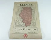 Illinois Electric Company Map and State Song by CH Chamberlain Illinois Map  Electric  Early 1900s Four Digit Phone Number - Print Ads