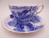 "1940s Vintage  Shelley English Bone China ""Blue Devon"" Teacup and Saucer Elegant Blue Tea Cup 127354"
