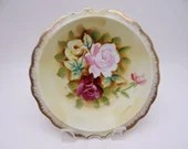 Vintage Antique Hand Painted Japanese Rose Bouquet Shallow Bowl  - Stunning
