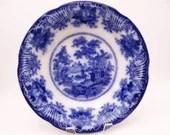 "1891 to 1910 Vintage Adams English Bone China Flow Blue and White ""Fairy Villas"" Serving Bowl"