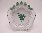 """Vintage Herend Hungary Hand Painted """"Chinese Bouquet"""" Green 6"""" Open Weave Basket Bowl Just Beautiful Ring Dish"""