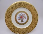 Antique Spectacular Gold Encrusted Hutschenreuther Bavaria Germany Stouffer Studio Flower Basket Dinner Plate - 6 Available