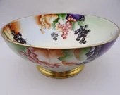 1890s Hand Painted Limoges France T&V Tressemann and Vogt Large Fruit or Centerpiece Punch Bowl