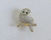 Vintage Rhinestone Owl Brooch Pin with Green Rhinestone Eyes on Gold Tone Setting is Perfect for that Wise Person in your Life