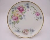 """Antique German Artist Signed """"Fielder"""" Weimar Pink and Yellow Rose Plate c1940s"""