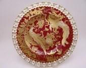 Rare Vintage Royal Crown Derby English Bone China Maroon Paradise Dinner Plate