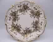 1950s Vintage Large Kronach Gold Rose Porcelain Serving Tray Charger