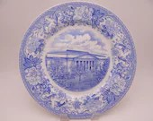 Vintage Spode English Bone China Blue and White Constitution Hall Philadelphia Plate