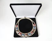 Unique Molded Glass Red and Blue Bib Necklace with Gold Tone Details in Presentation Box Gift for Her