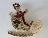 Vintage Hobe Rhinestone Santa in his Sleigh Brooch Pin on a Gold Setting - Red Green Clear Rhinestone Christmas Santa - Whimsical Holiday