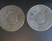 """Set of Two Vintage 1930s Hocking Cameo Depression Glass Plate with Platinum Rim 6-7/8"""" Plates"""