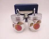 "Vintage Pair Standard Size Royal Worcester Egg Coddler ""Evesham"" Plums and Berries in Original Box"