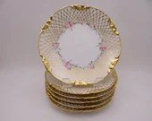 Set of 6 Jean Pouyat Limoges France Hand Painted and Artist Signed Gold Encrusted Pink Rose Plates Just Beautiful