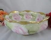 Hand Painted 1900s Vintage Bawo Dotter Elite Factory Limoges Pink Rose Bowl artist signed Lucie