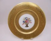 Antique Spectacular Gold Encrusted Thomas Bavaria Germany Flower Basket Dinner Plate - 6 Available