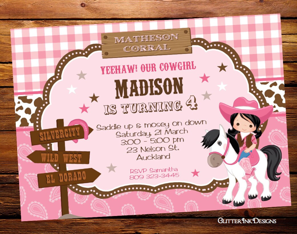 Wild West Cowgirl Birthday Party Invitation Printable
