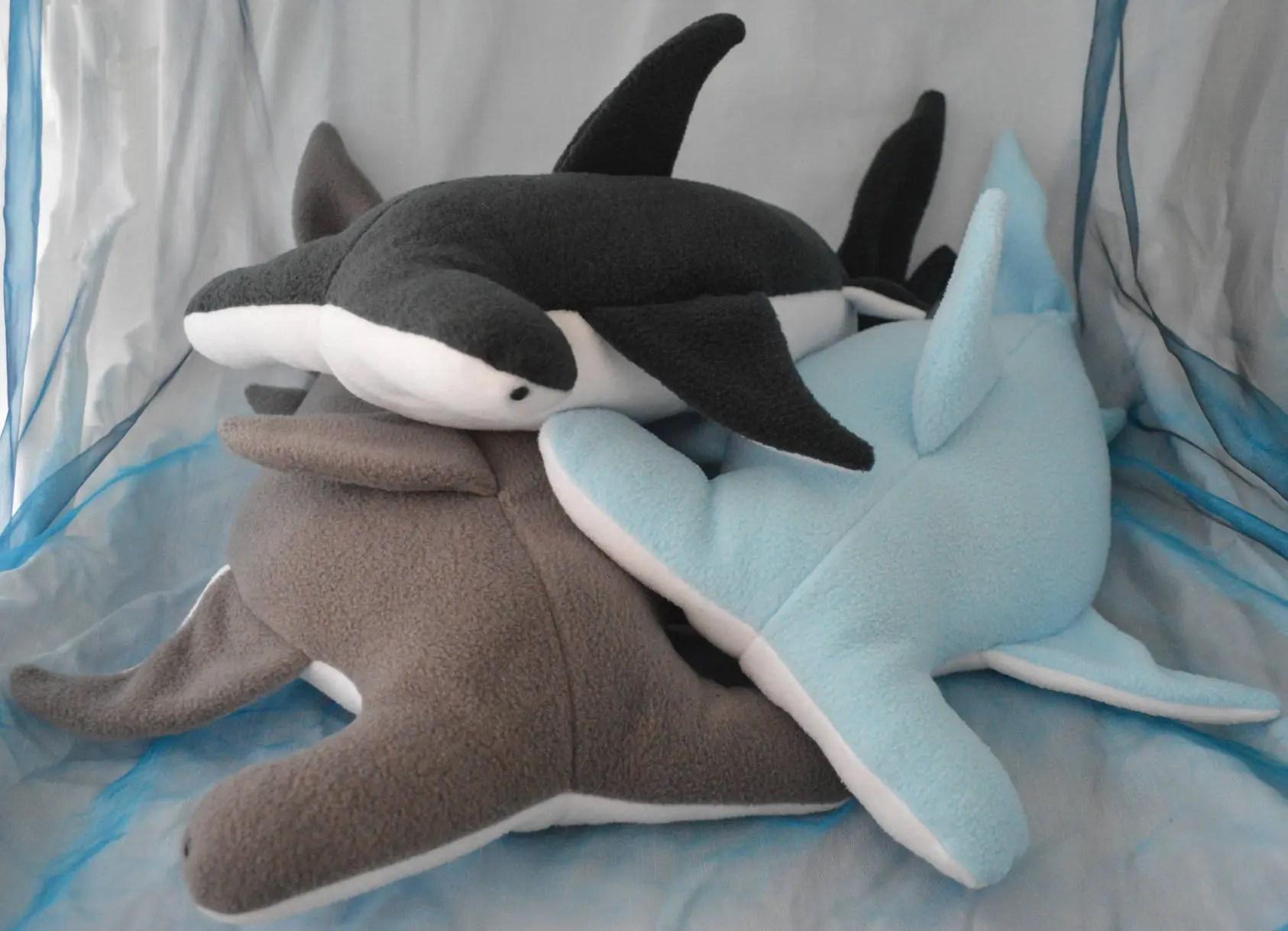 fleece hammerhead shark pillow plush made to order