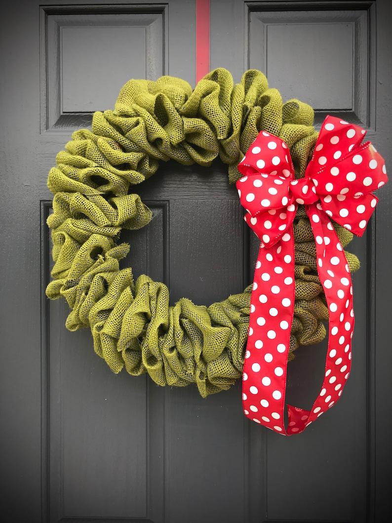 green burlap wreath green
