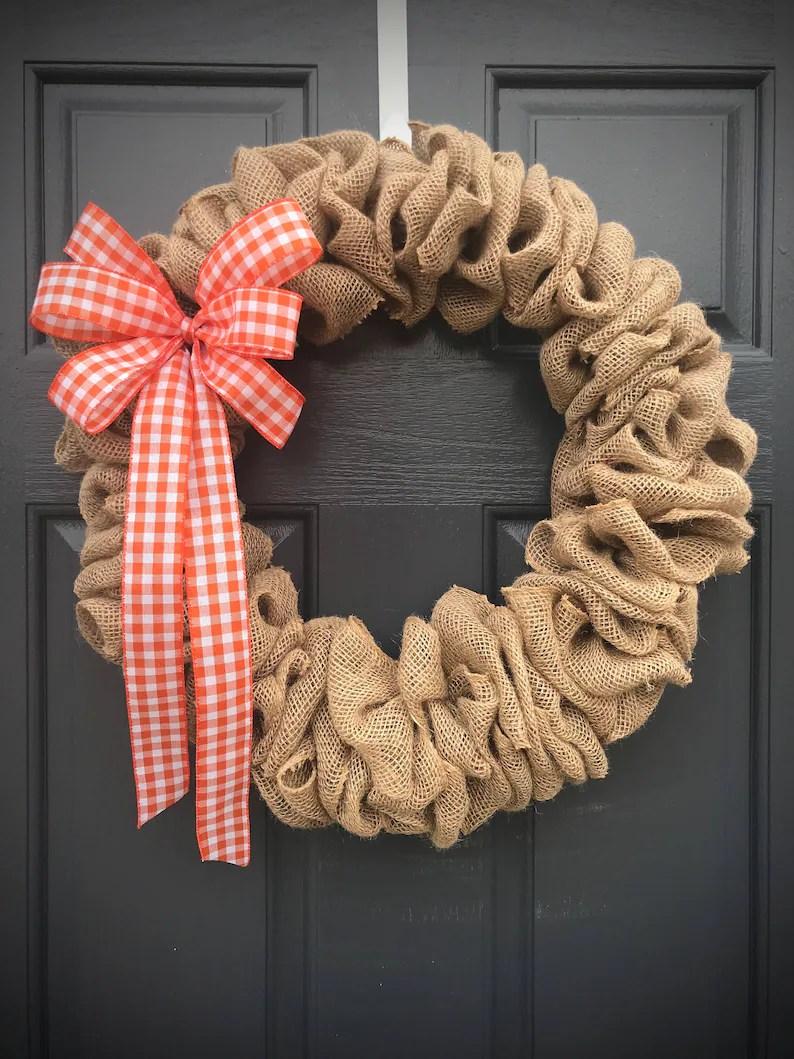 burlap wreaths gingham burlap
