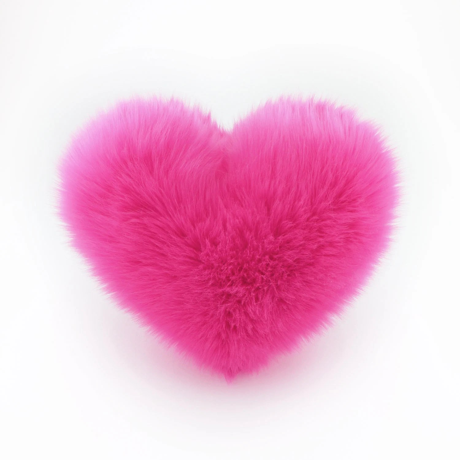 hot pink heart shaped pillow fluffy faux fur small size mother s day gift