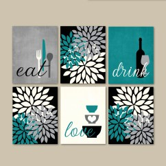 Art For Kitchen Wall Round Tables Sale Etsy Print Set Eat Drink Love Flower Bursts Teal Grey Black Cream Modern Decor Of 6 Many Sizes Unframed