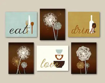 art for kitchen wall cabinet hardware etsy print set eat drink love dandelions brown seafoam light cream modern decor of 6 many sizes unframed