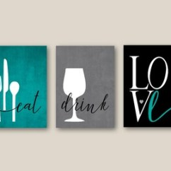 Pictures For Kitchen Wall Lighting Home Depot Art Etsy Print Set Eat Drink Love Utensils Wine Teal Grey Black Modern Decor Of 3 Many Sizes Unframed