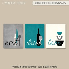Artwork For Kitchen Touch Faucet Wall Art Etsy Print Set Eat Drink Love Teal Grey Black Cream Modern Decor Of 3 Many Sizes Unframed