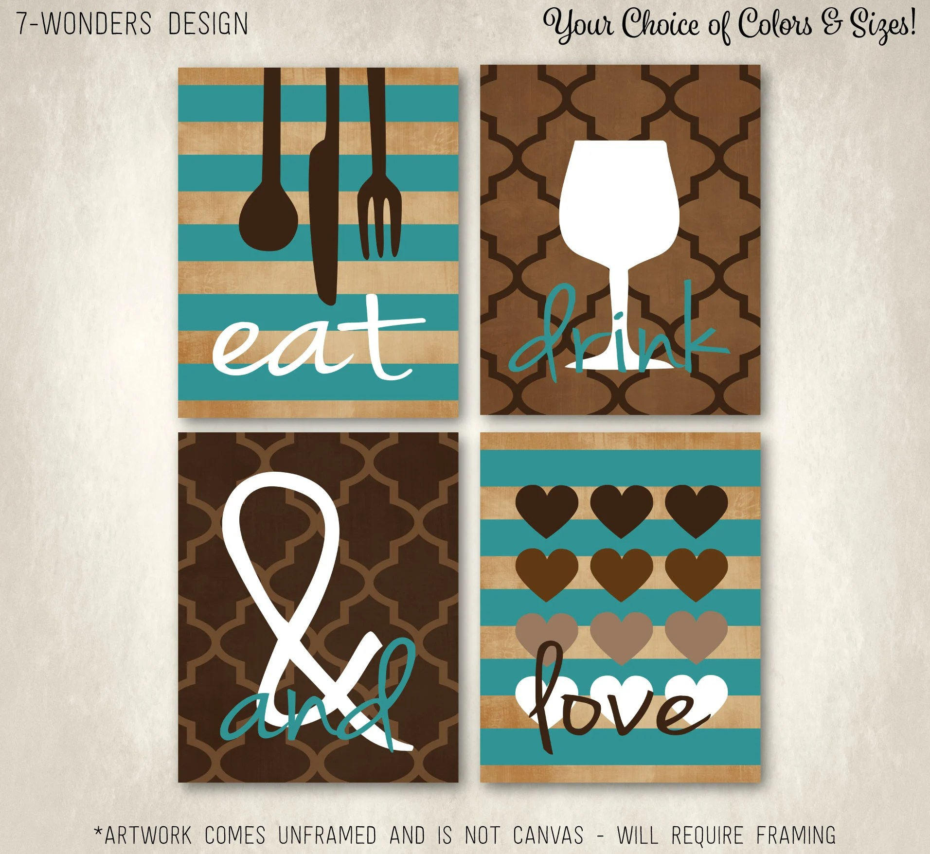 kitchen art prints sink pipes modern eat drink and love set of 4 5 x etsy 50