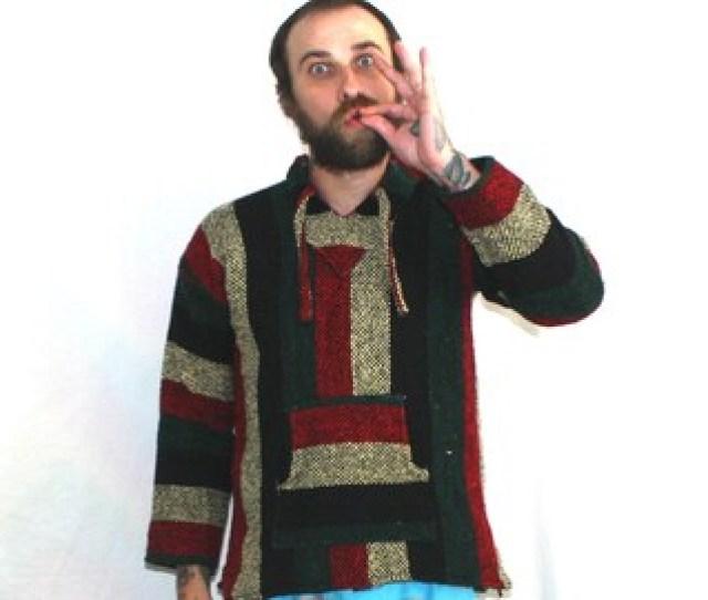 Hippie Drug Rug Vintage Baja Hoodie Retro Kinda Rasta Boho Beach Wear Black Yellow Red Green Textiles Baja Jacket Festival Beach