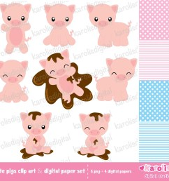 cute pigs clip art digital paper set [ 1143 x 1081 Pixel ]