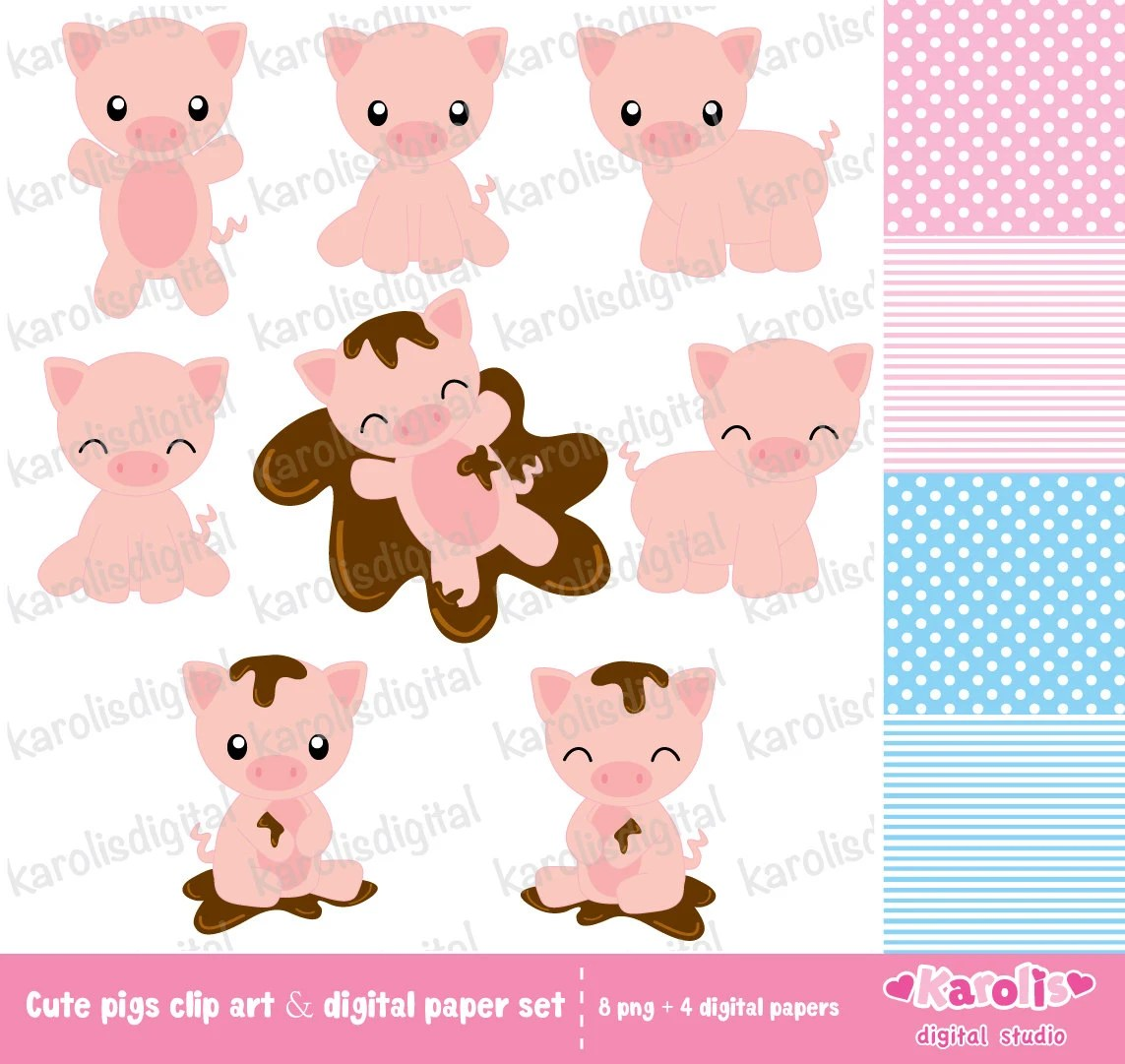 hight resolution of cute pigs clip art digital paper set
